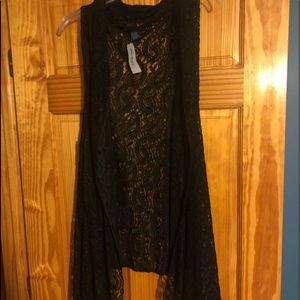Black lace no sleeve vest brand new
